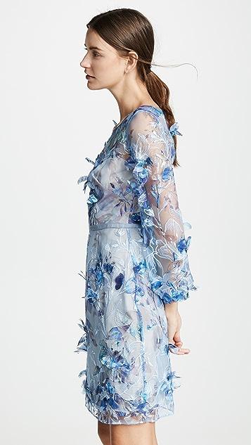 Marchesa Notte 3D 花朵刺绣酒会礼服
