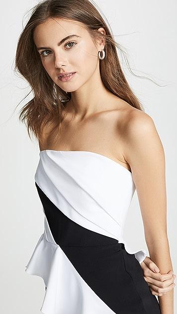 Marchesa Notte 无肩带高低不对称下摆酒会连衣裙