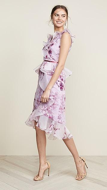 Marchesa Notte 无袖花卉透明硬纱酒会连衣裙