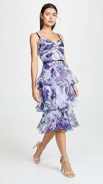 Marchesa Notte 花卉透明硬纱层褶礼服
