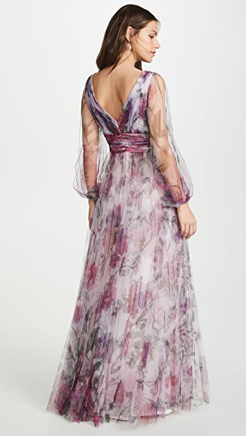 Marchesa Notte 灯笼袖裥褶花卉礼服