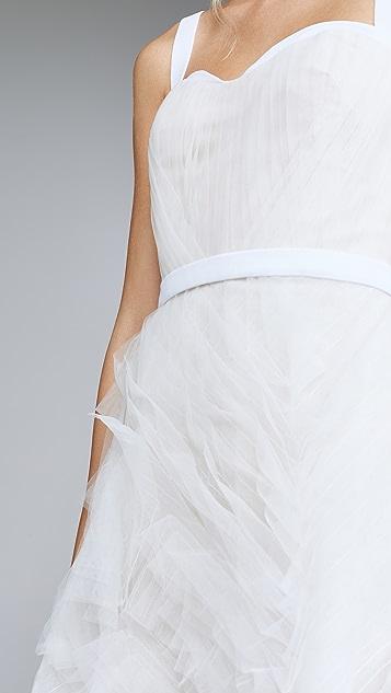 Marchesa Notte 无袖纹理薄纱过膝礼服