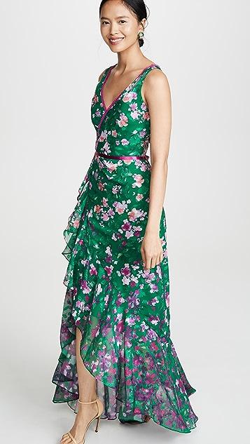 Marchesa Notte 花卉高低不对称下摆礼服