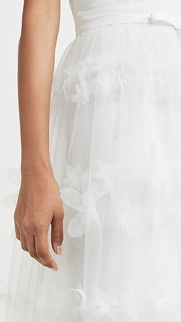 Marchesa Notte 露肩立体花卉条纹薄纱及膝礼服