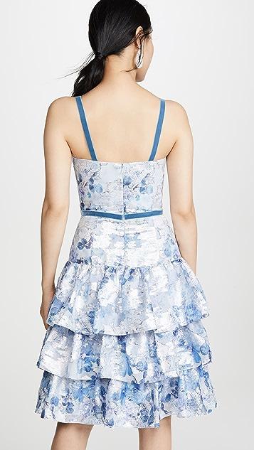 Marchesa Notte 无袖金属丝线连衣裙