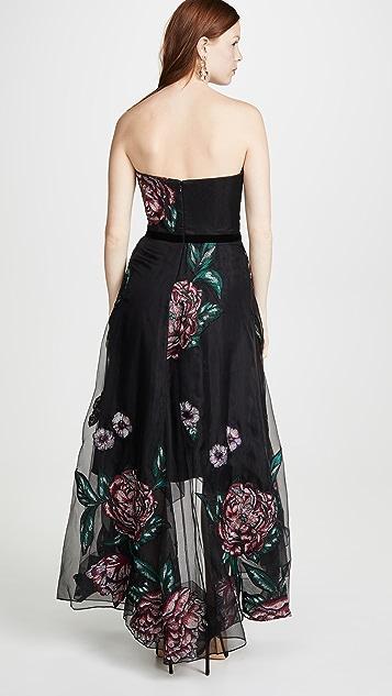 Marchesa Notte 刺绣无肩带透明硬纱过膝礼服