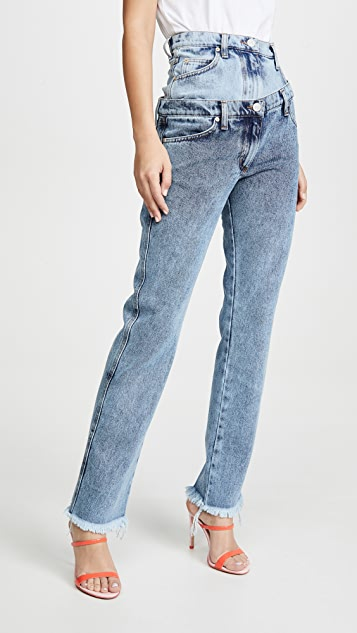 Natasha Zinko 双重腰部不对称牛仔裤