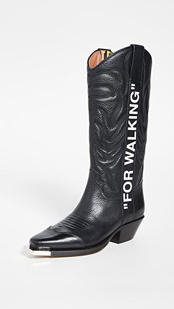 "Off-White ""For Walking""牛仔靴"