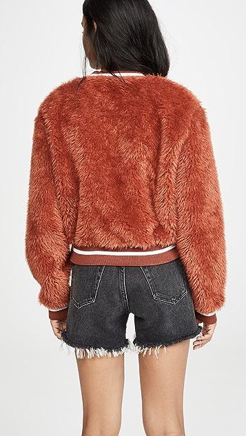 米白色 Faux Fur College 圆领上衣