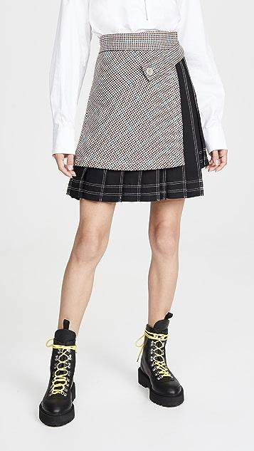 Off-White 格纹多拼接半身裙