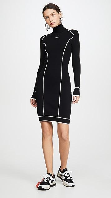Off-White 针织运动高领连衣裙