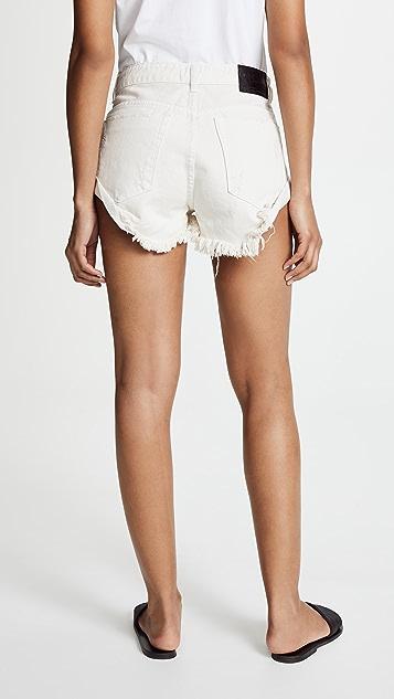 One Teaspoon Worn White Bandit 短裤