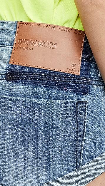 One Teaspoon Original Blue Bandits 牛仔布短裤