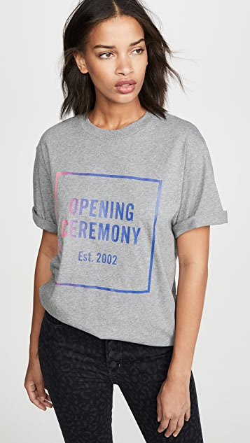 Opening Ceremony 男/女渐变色方形徽标 T 恤