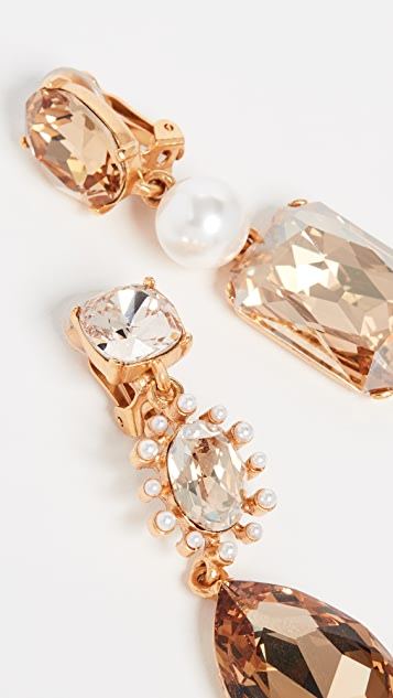 Oscar de la Renta 醒目混合珠宝耳环