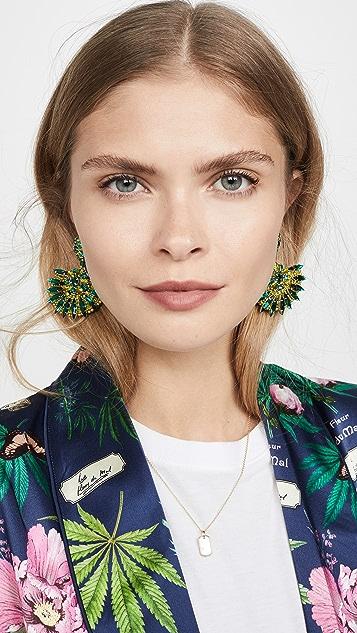 Oscar de la Renta 混合珠饰和水晶扇形耳环