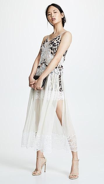 Paco Rabanne V 领网面分层连衣裙