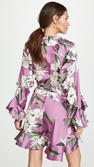 PatBo 兰花印花迷你裹身式连衣裙