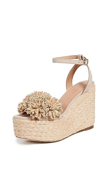 Paloma Barcelo Armele 花卉草编坡跟凉鞋