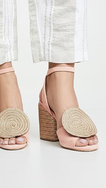 Paloma Barcelo Emi 圆形编织底坡跟绑带凉鞋