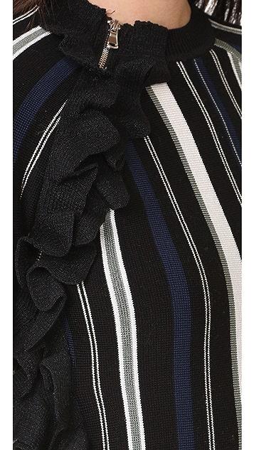 3.1 Phillip Lim 条纹荷叶边运动拉链套头衫