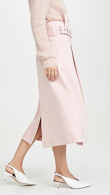 3.1 Phillip Lim 侧边裹身中长款有型斜纹半身裙