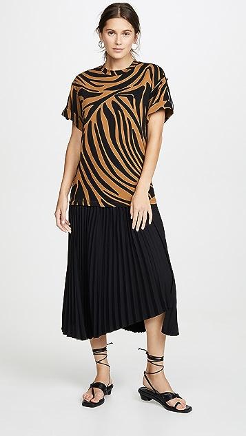 3.1 Phillip Lim 褶皱设计平针织短袖连衣裙