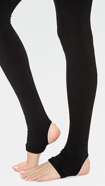 Plush 绒毛衬里踩脚紧身连裤袜