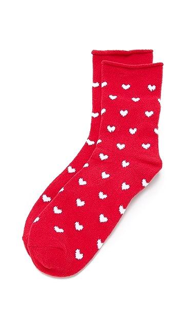 Plush 心形图案卷边绒布袜