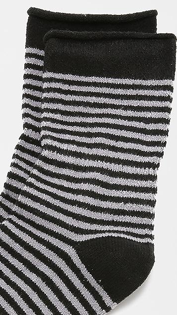 Plush 条纹卷边绒布袜子