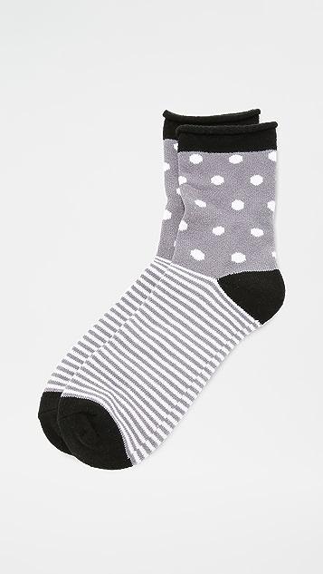 Plush 圆点条纹卷边绒布袜子