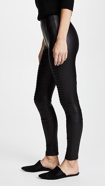 Plush 绒布衬里机车贴腿裤