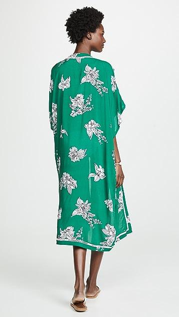 Plush 花卉印花长款和服