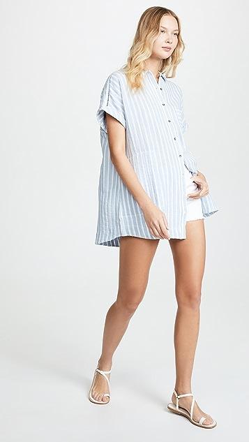 Plush 条纹亚麻连衣裙