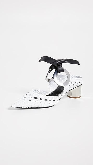 Proenza Schouler 绑带梭织穆勒鞋