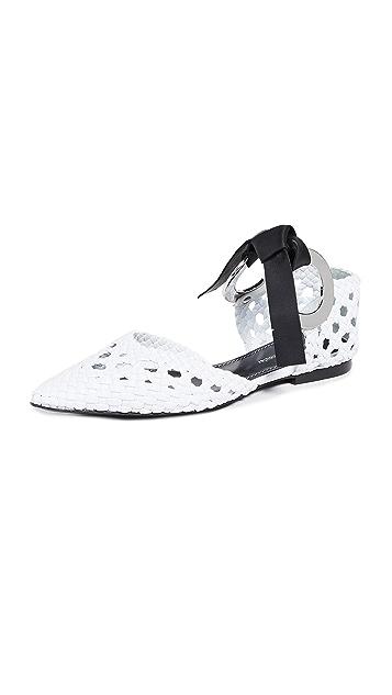 Proenza Schouler 绑带梭织平底鞋
