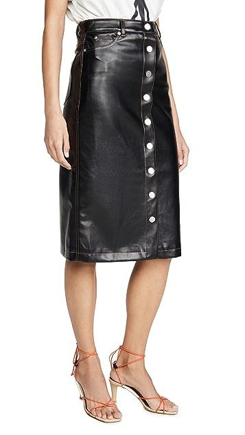 Proenza Schouler PSWL 仿皮前系扣中长半身裙