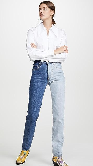 pushBUTTON 双色牛仔裤