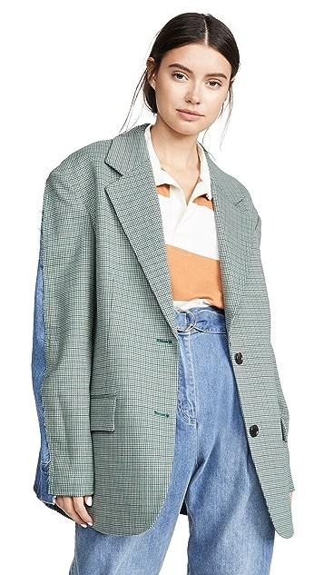 pushBUTTON 衬衣背面格纹夹克