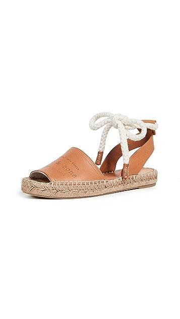 Rag & Bone Estelle 编织底坡跟绑带凉鞋