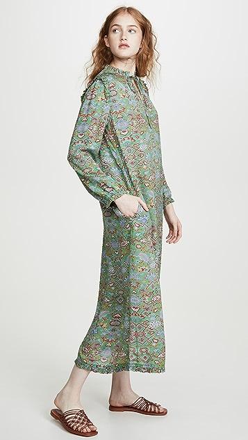 Raquel Allegra 织锦真丝荷叶边连衣裙
