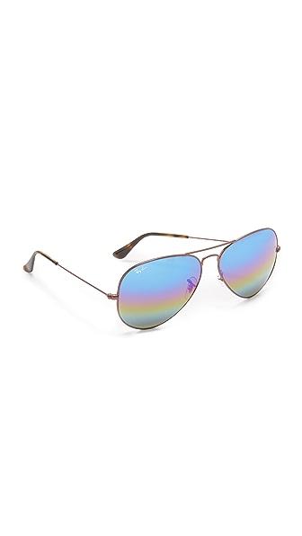 Ray-Ban 彩虹色镜面飞行员太阳镜