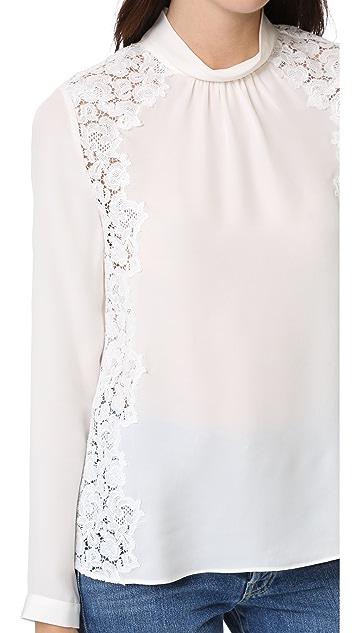 Rebecca Taylor 乔其纱和蕾丝女式衬衫