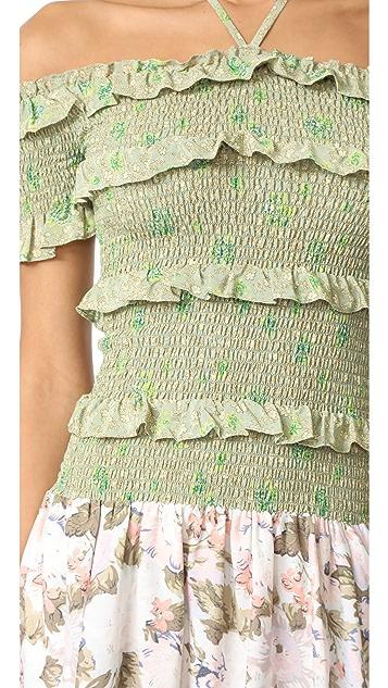 Rebecca Taylor 露肩混合印花连衣裙