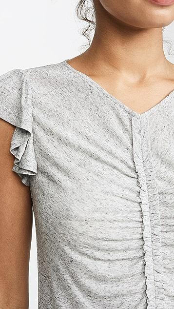 Rebecca Taylor 无袖抽褶平纹针织 T 恤