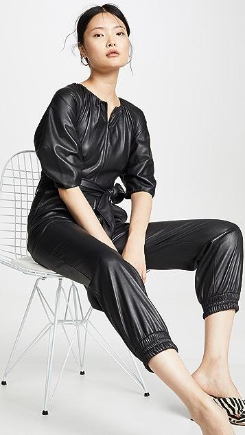 Rebecca Taylor 短袖人造皮连身衣