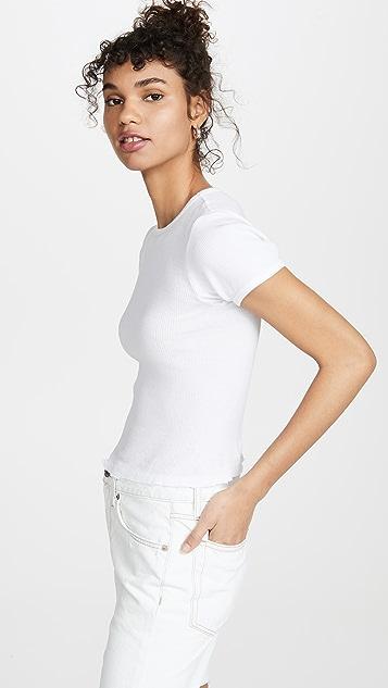 RE/DONE 90 年代复古罗纹设计小肩袖 T 恤