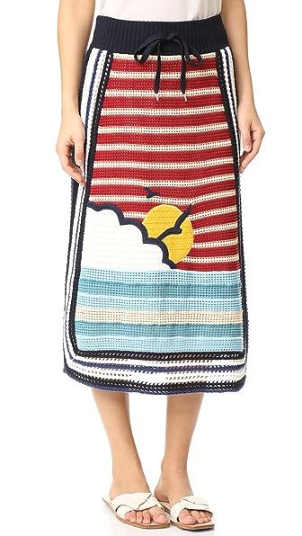 RED Valentino 波纹形和太阳针织半身裙