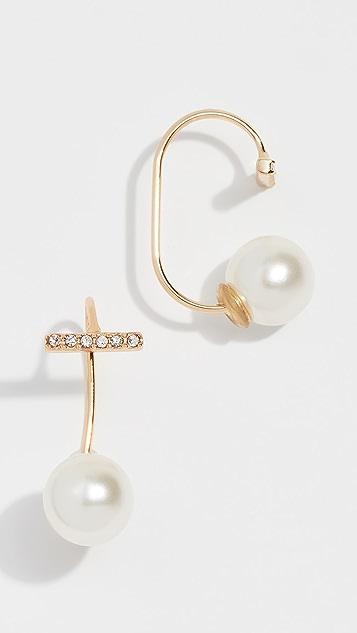 Rebecca Minkoff 珍珠密镶条扣丝线耳环