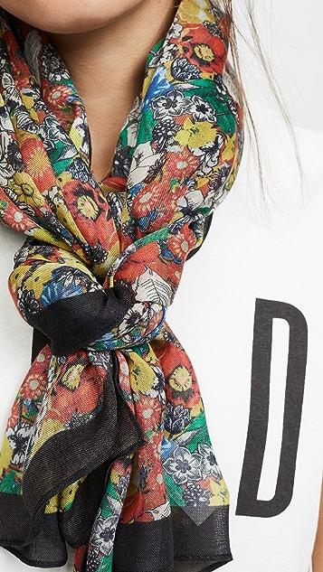 Rebecca Minkoff 素描花卉长围巾
